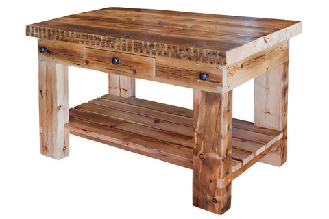 Plaistow Recycled Baltic Timber Butchers Block, Rugged, Sturdy Design with Recycled Steel Railway Pins for handles