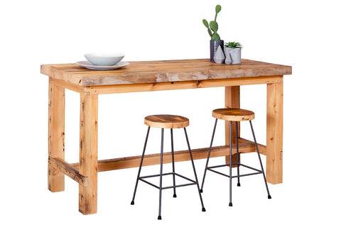 Recycled Baltic Pine Timber Bar Table with solid timber legs with matching industrial style bar stools with steel legs and recycled timber seats