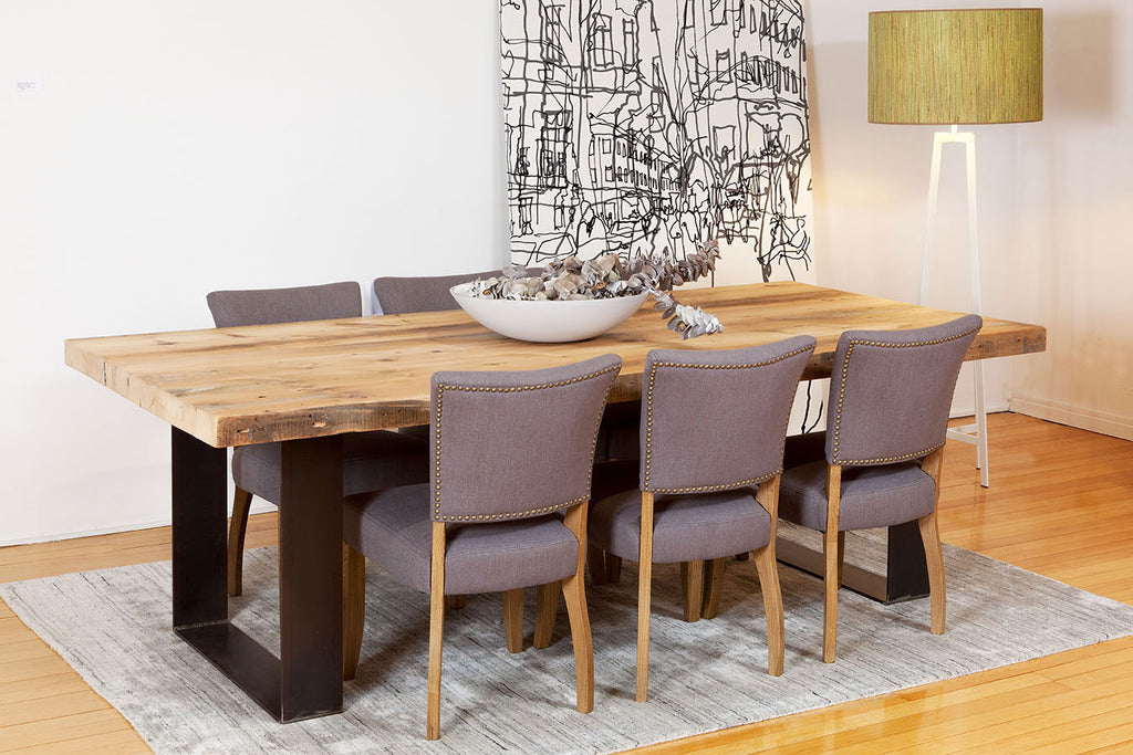 Bespoke Furniture Custom Plaistowe Recycled Baltic Pine Timber Dining Table with Industrial Steel Base and Sussex Fabric Dining Chair Perth