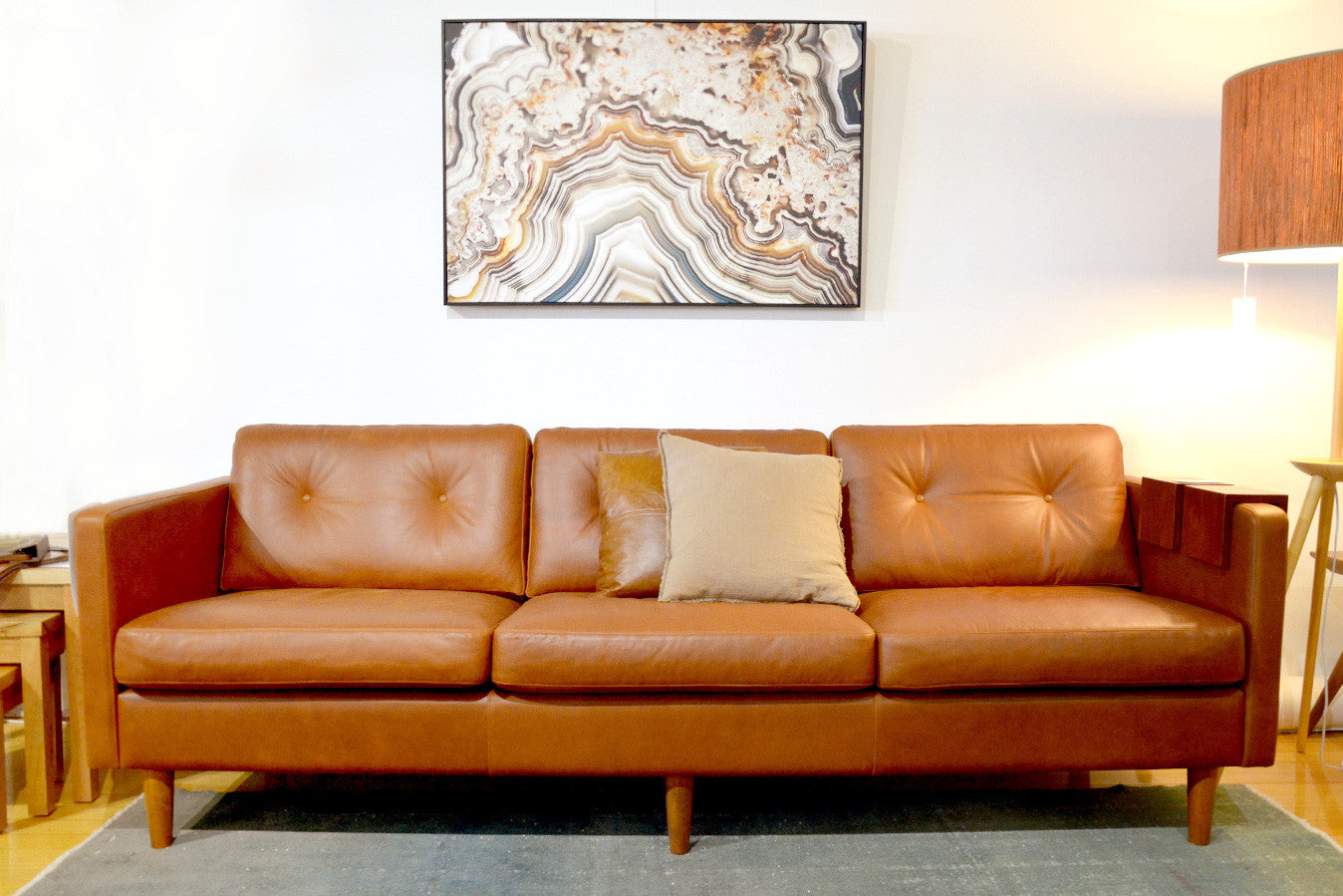 Svensen Retro Mid Century Aniline Leather Couch Sofa Bespoke  ~ Tan Leather Mid Century Sofa
