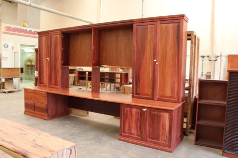Bespoke Fully Custom Jarrah Office Wall Unit, Nedlands, Perth, WA