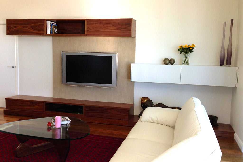 Bespoke Ash Timber Wood Lacquer Custom Wall Unit System with LED Back lighting WA Perth Bespoke Furniture Perth
