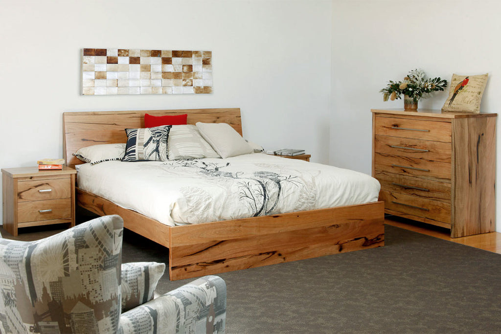 Boranup Marri or Jarrah Timber Bedroom Suite with Bed, Bedside table and Chest of Drawers Furniture Perth WA