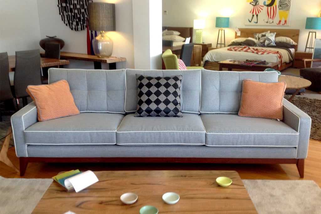 The Caz Fifties Sofa with Jarrah Timber Base - Leather or Fabric - Mad Men Inspired