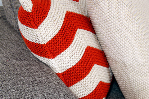 Contemporary Graphic Knitted Couch Cushions