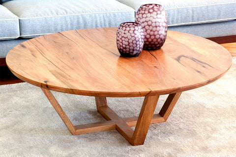 Yallingup Marri or Jarrah Round Timber Coffee Table Locally Designed Made in WA