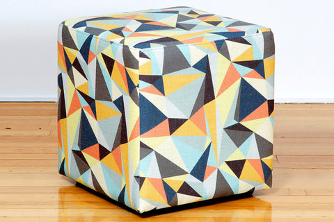 Groovy cool retro fabric upholstered cube shaped ottoman Perth WA
