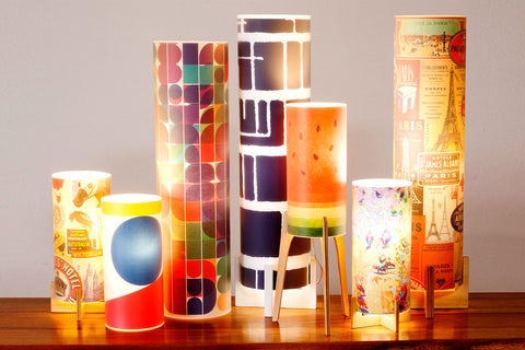 Fully customisable, printed interchangeable lampshade Phoebe desk lamps