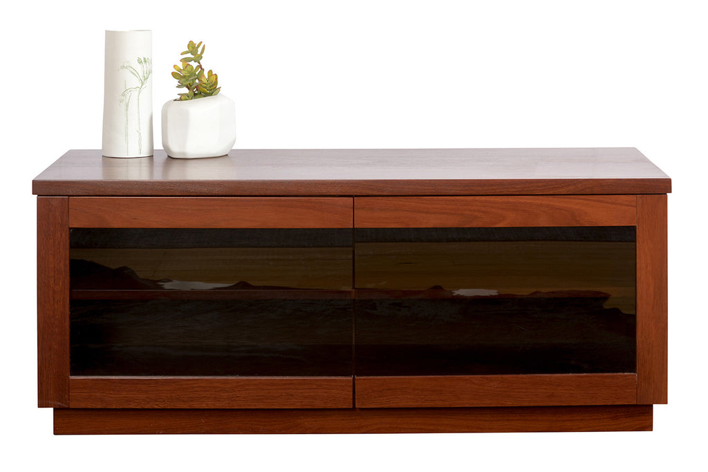 Evelyn Jarrah Timber TV Unit with Smokey Glass Doors