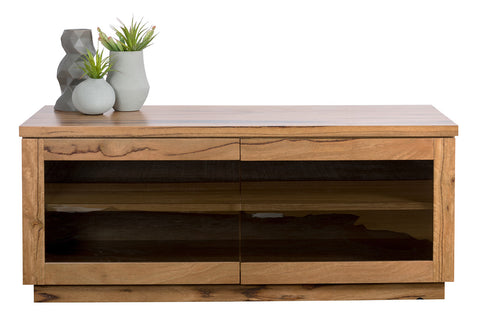 Evelyn Marri Timber TV Unit with Smokey Glass Doors
