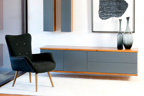 Floating design Marri Timber and Dulux colour Lacquer Buffet, fully customiseable