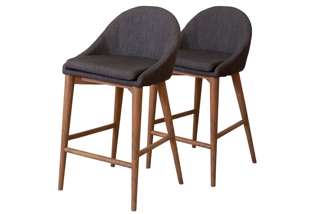 Hedrick Upholstered Fabric Stool with Walnut Timber Base Perth WA