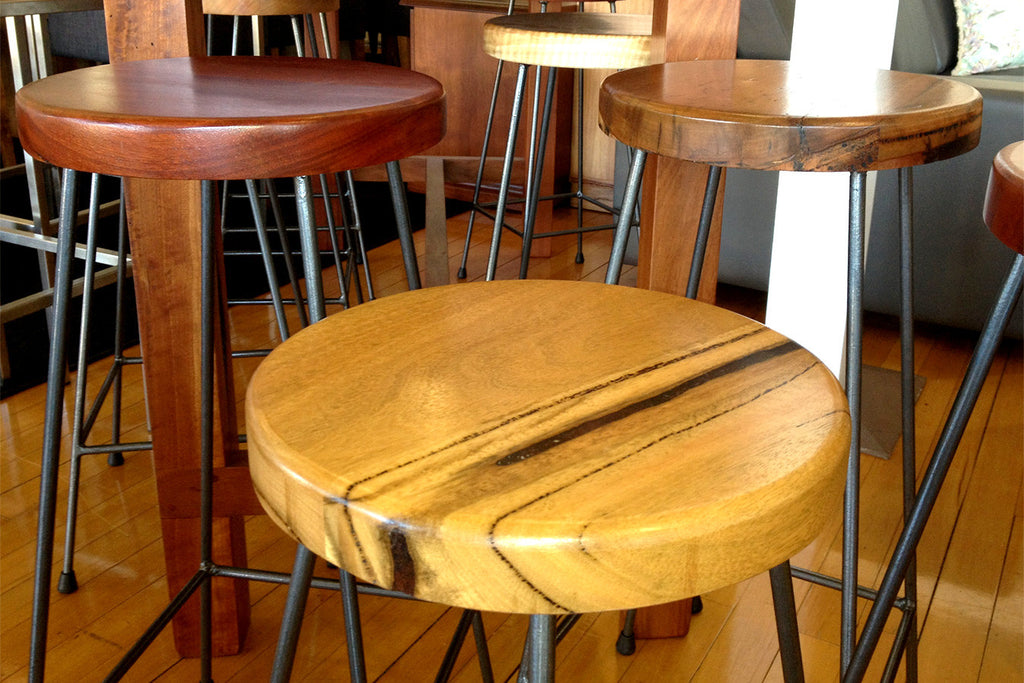 Industrial Style Marri or Jarrah Timber Seat Bar Stool with Rustic Iron Legs