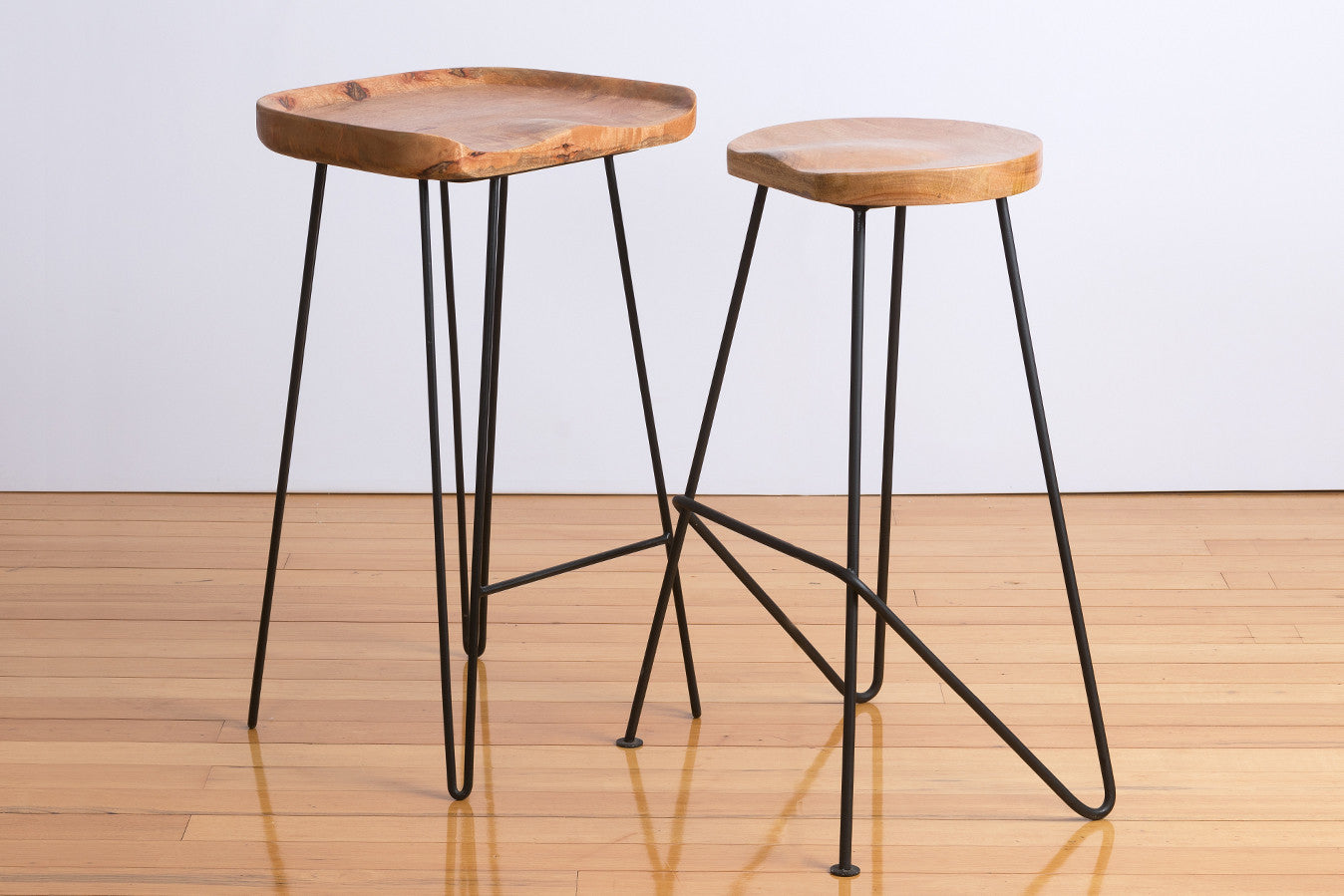 Industry industrial powder coated steel iron base solid timber seat bar stools