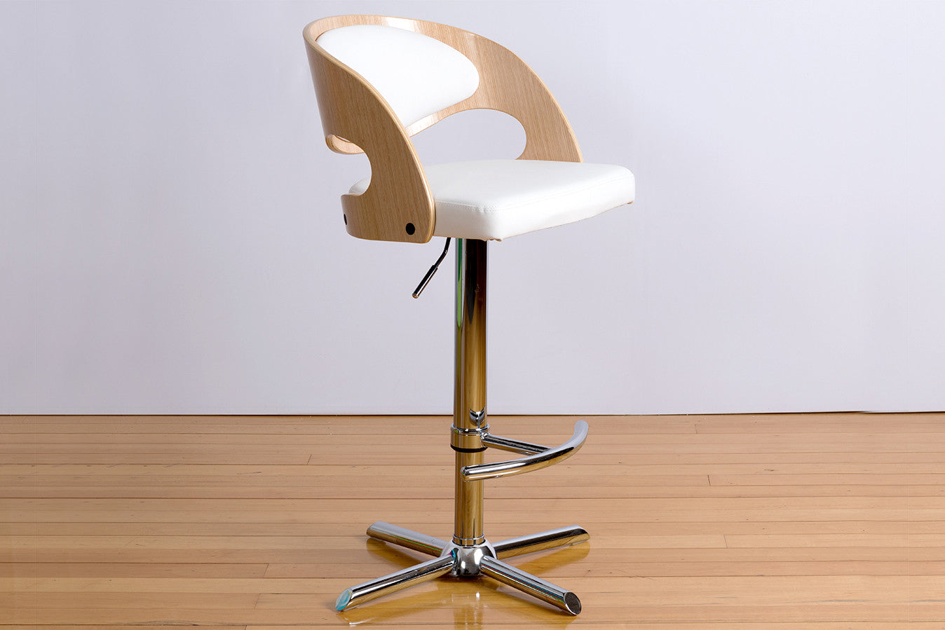 James bar stool with engineered american oak or walnut engineered curved timber stainless steel swivel