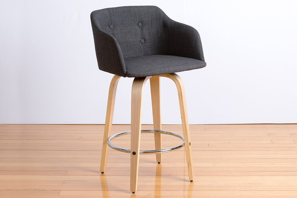 Curved Timber Contemporary Tall Stool with Upholstered Fabric Seat