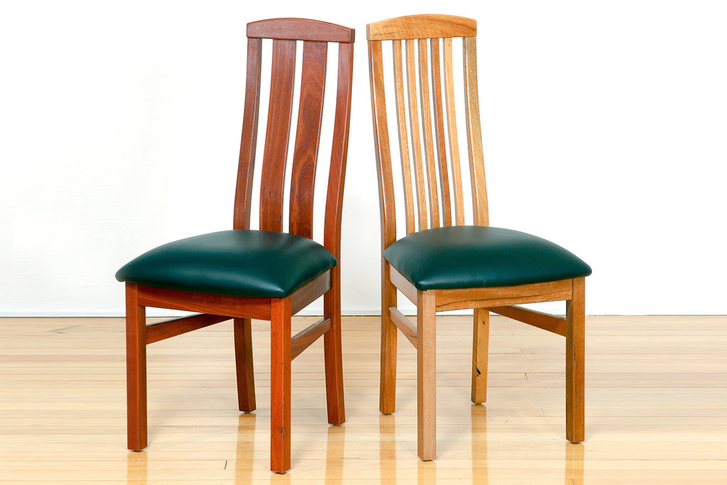 Manta Dining Chair In Jarrah Or Marri, leather of fabric upholstery