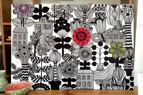 Marimekko Wall Art Canvas Wall Hanging 60s 70s retro Bespoke Perth WA Floral & Houses Design