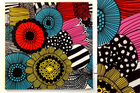 Marimekko Wall Art Canvas Wall Hanging 60s 70s retro Bespoke Perth WA Floral Design