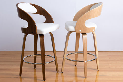 Mia Modern Contemporary Timber Swivel Bar Stool American Oak or American Walnut