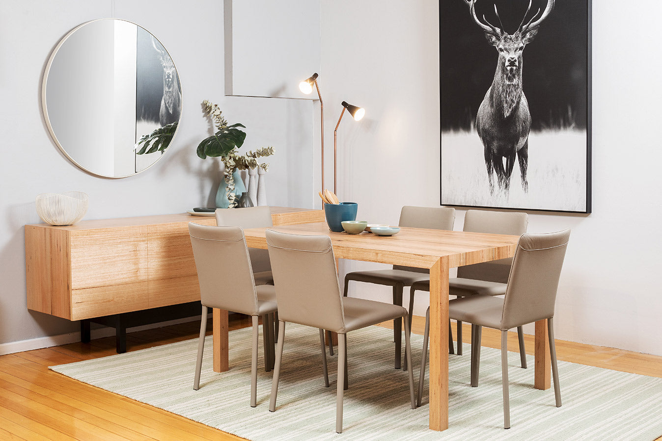Buffet Centro Range Contemporary Living Mountain Victorian Ash Solid Timber Small Dining Table Setting Suite