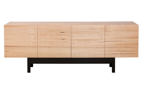 Centro Contemporary Living Mountain Victorian Ash Contemporary Solid Timber Dining Buffet Four Door with solid black Jarrah timber lacquered base