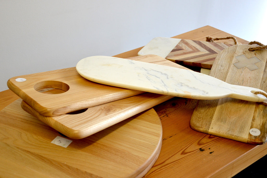 Chopping Boards In Timber and Marble.