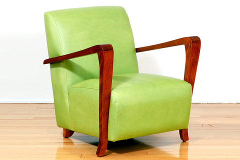 The Retro Fifties Chair with Jarrah Timber Arms in Pale Green Leather