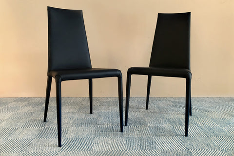Sophie Elegant Black Leather Dining Chair Made in Italy