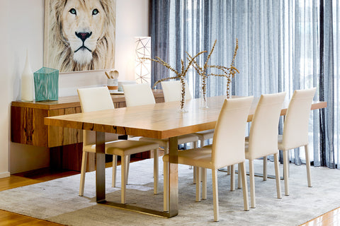 Spectrum Engineered Marri Timber Dining Table with Booklet Timbers and Stainless Steel Base