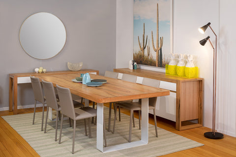Spectrum Engineered Marri Dining Table with Stainless Steel Base