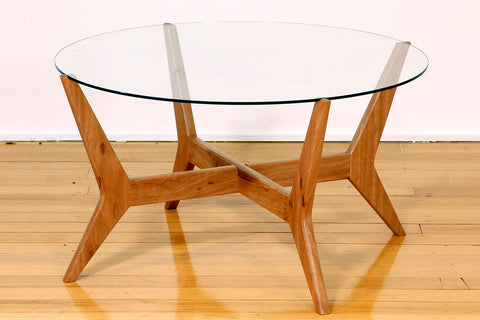Spider Blackbutt Retro Round Glass Top Coffee Table with Angled Timber Legs  Perth WA