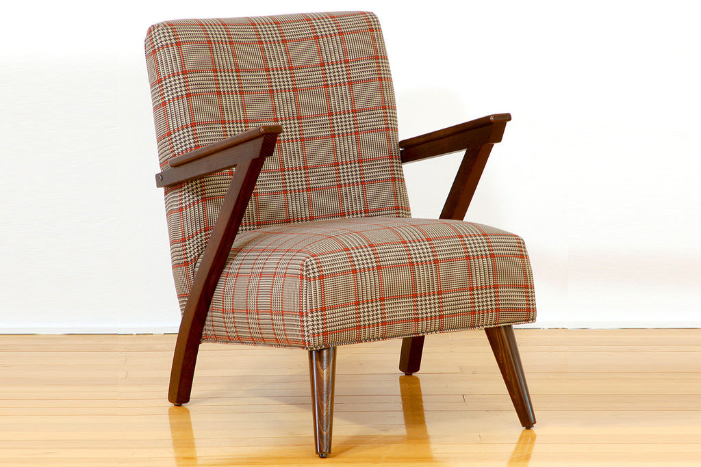 Zara Warwicks Classic Cigar Fabric Upholstered Occasional Chair Jarrah Timber Arms and Legs Perth WA