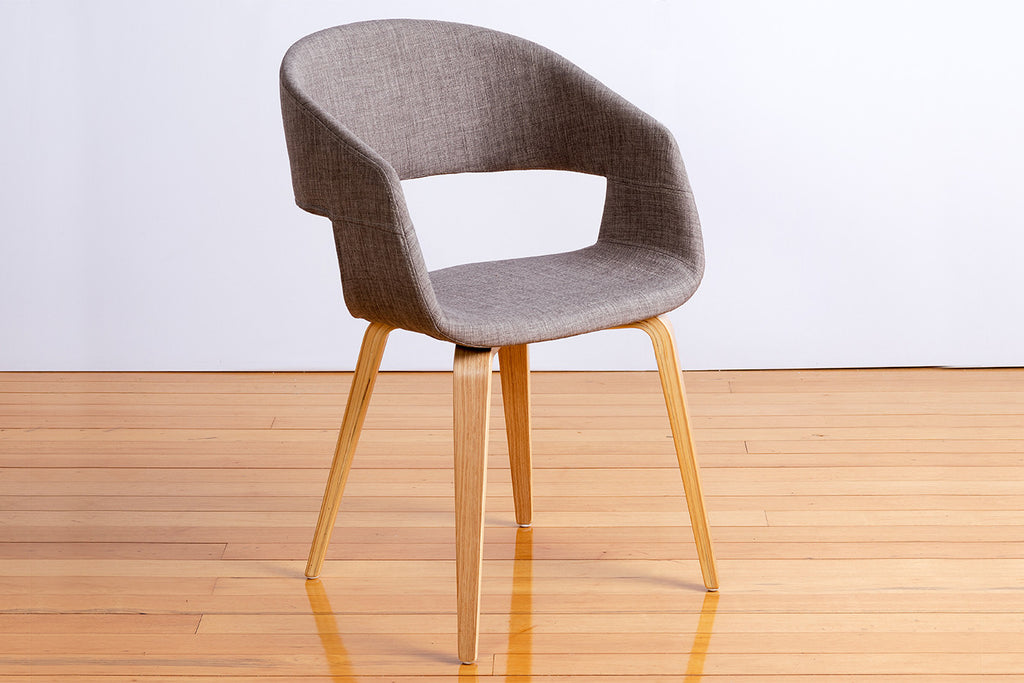 Webster Open Back Upholstered Fabric Dining Chair With Engineered Tapered Light Timber Leg