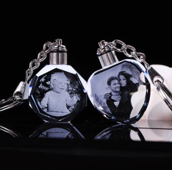Personalized LED CRYSTAL Photo Key Ring Trinket Laser Engraved LED Light Key Chain