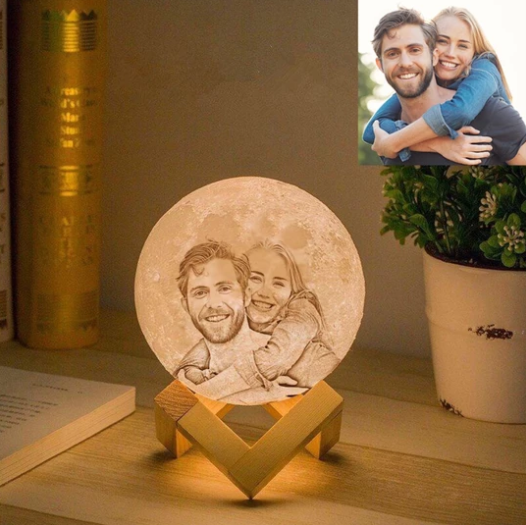 3D Personalized Photo Moonlight Lamp (15 cm) USB Rechargeable