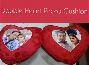 Personalized Double Heart Photo Pillow Cushion (Sold out)