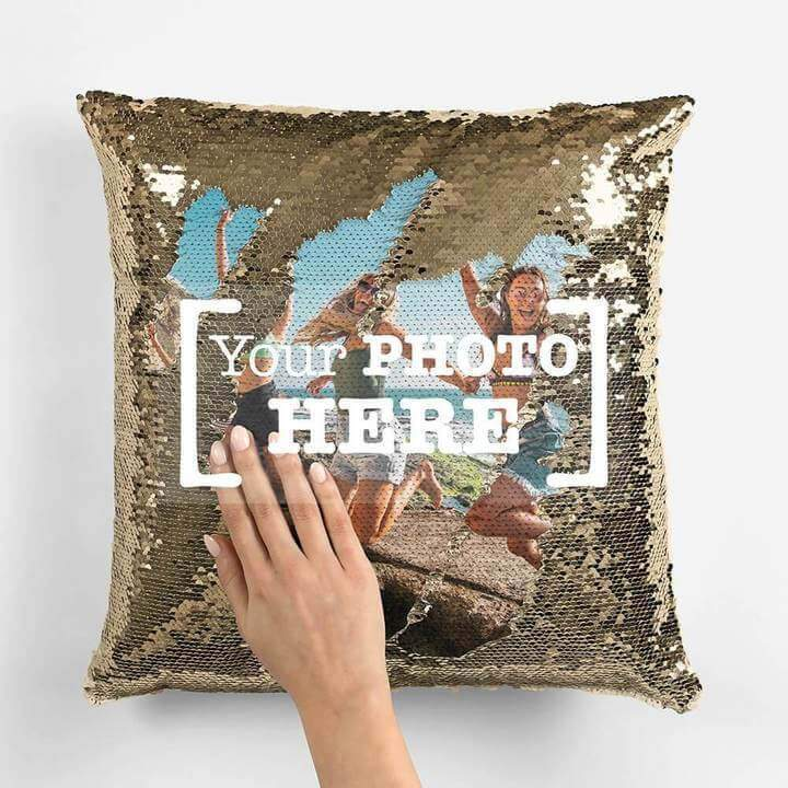 Personalized Photo Sequin Pillow Cushion Cover (with filler)