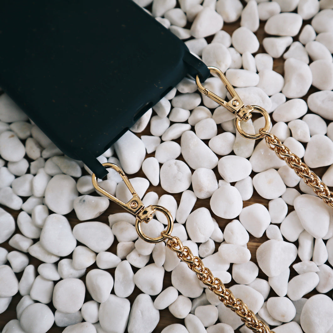 Chained Crossbody Phonecase - Granite Black & Double Curb Chain ( iPhone 11 Pro & iPhone XR )