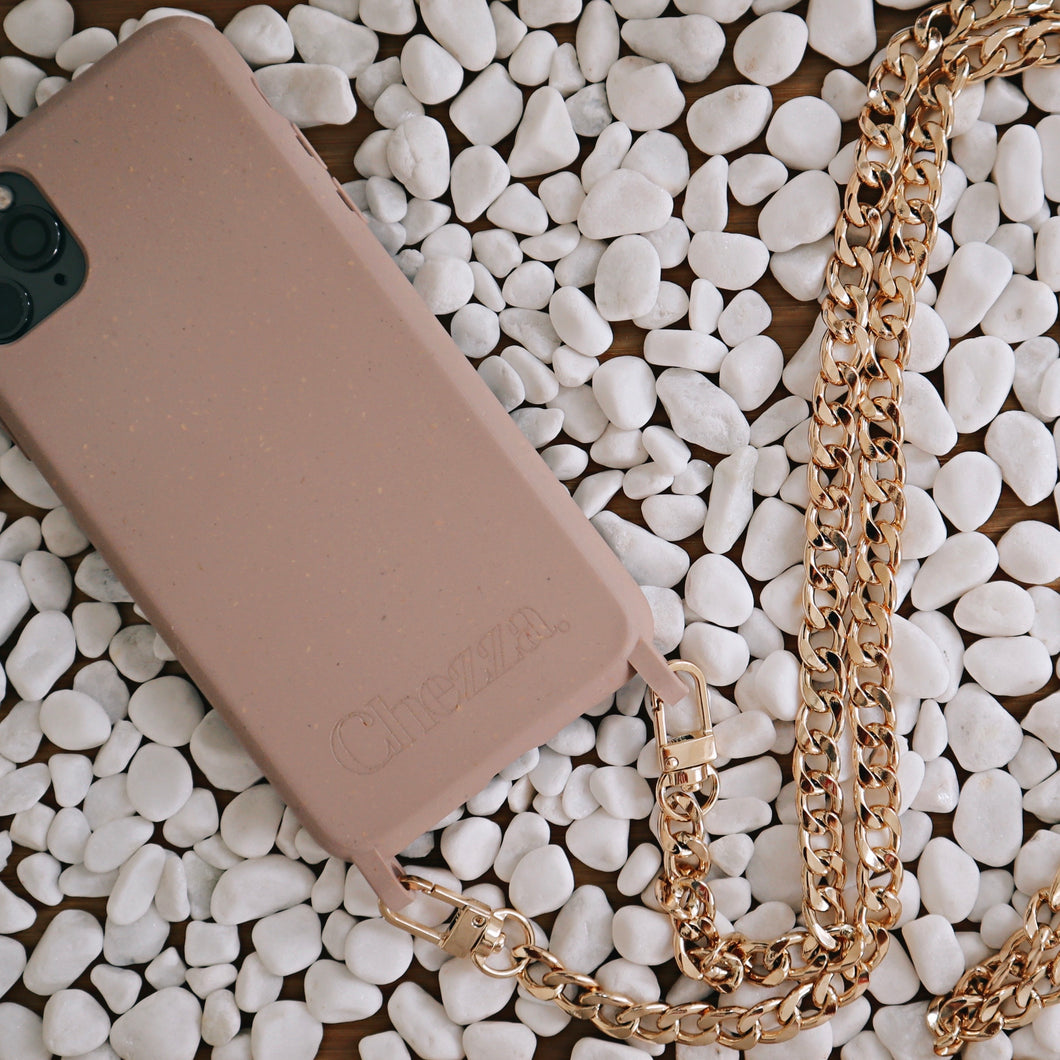 Chained Crossbody Phonecase - Rose Cloud & Flat Metal Chain (iPhone 11 Pro Max & iPhone 7/8)