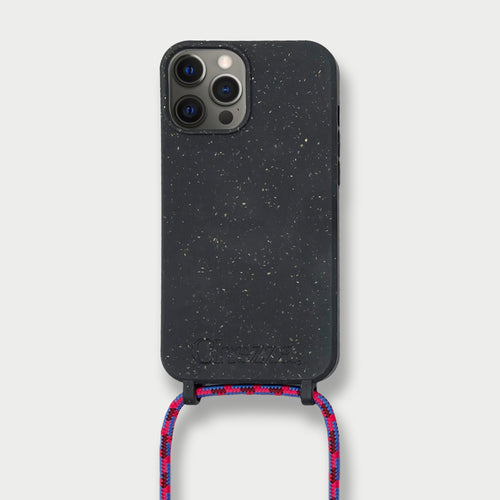 Sustainable Crossbody Phonecase - Granite Black & Pink