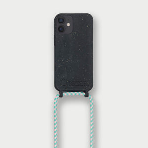 Sustainable Crossbody Phonecase (XS/XR/11 Pro/12 Series) - Black & Flamingo