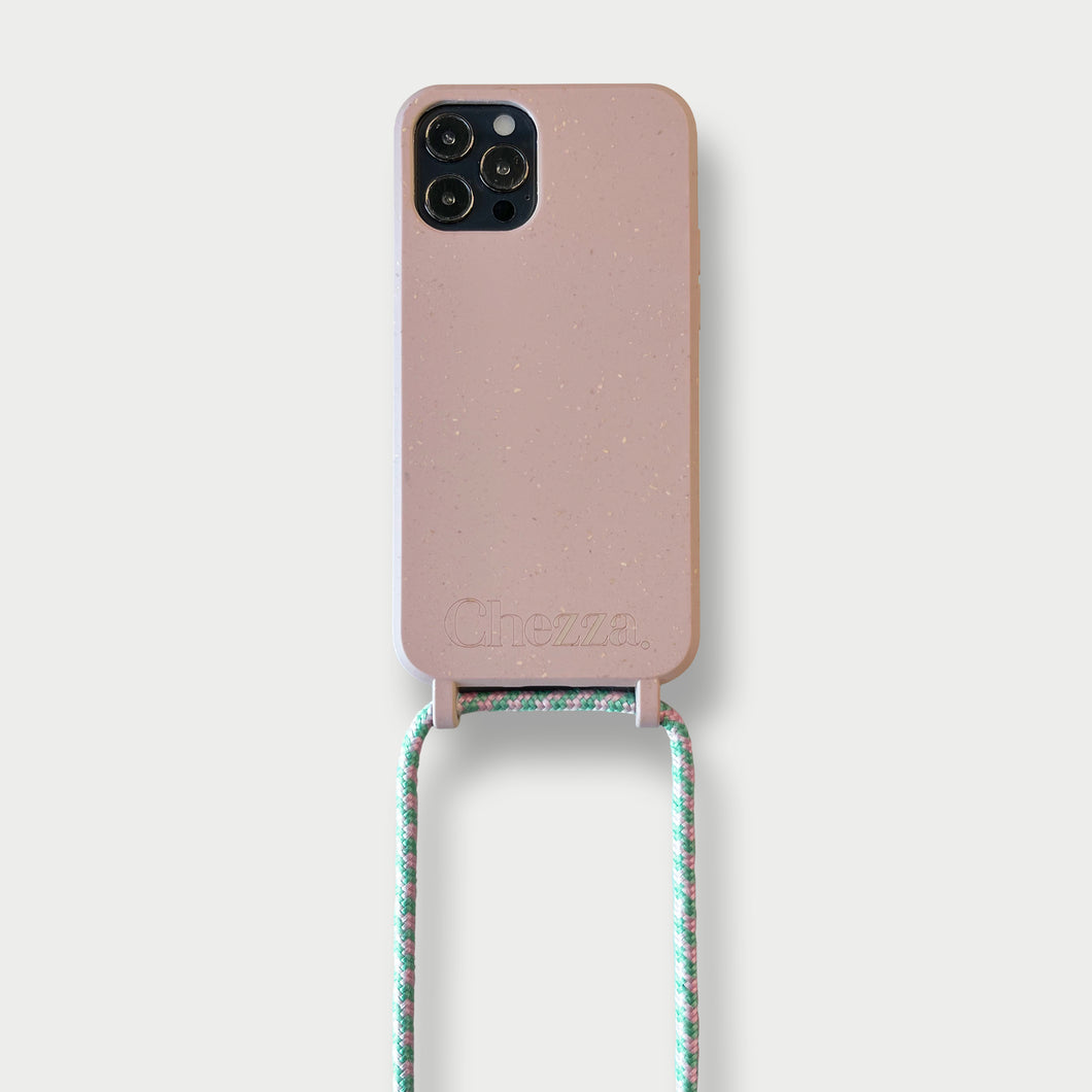 Sustainable Crossbody Phonecase (12 Series/ 11 Pro Max/ 7/ 8)- Rose & Flamingo