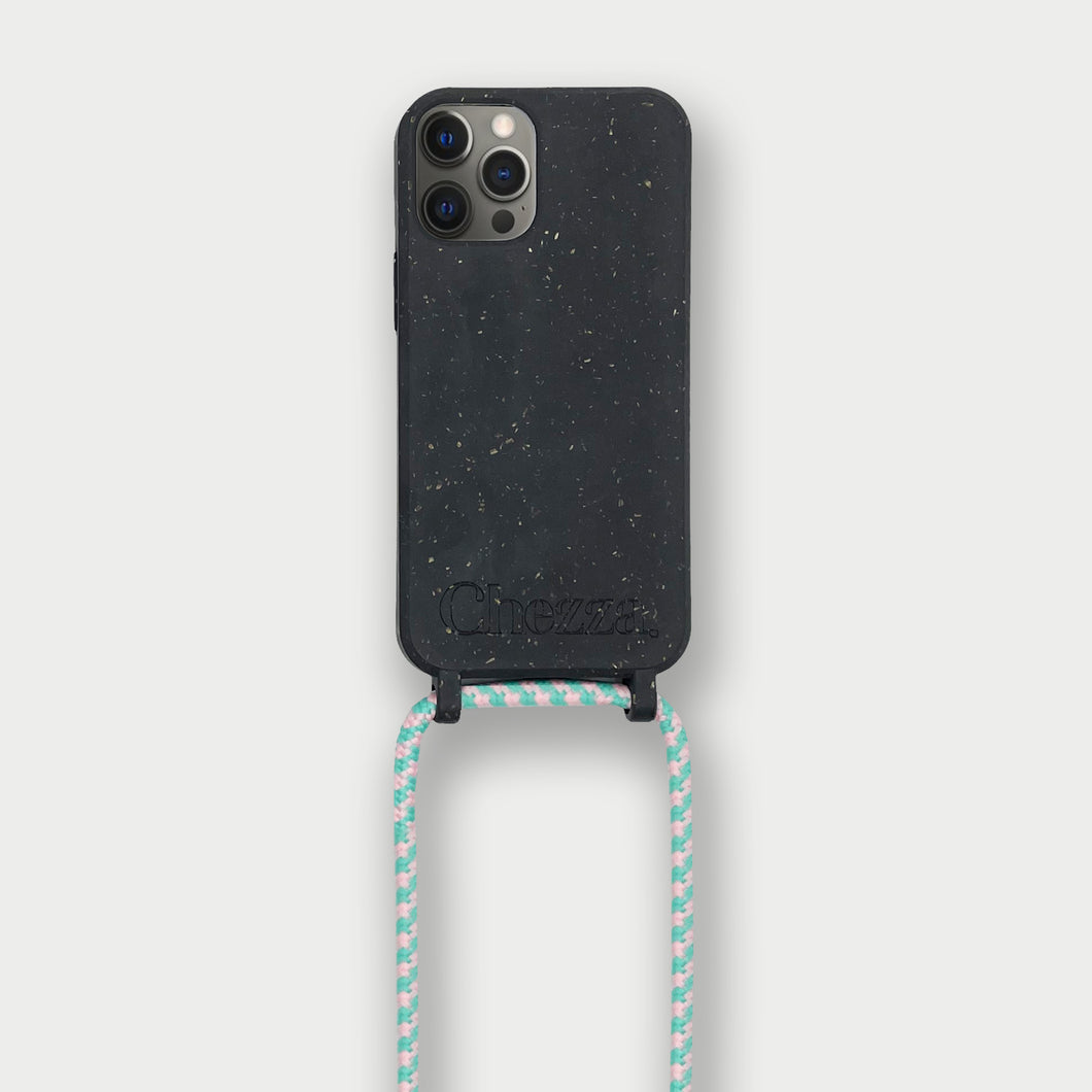Sustainable Crossbody Phonecase - Granite Black/Flamingo