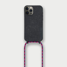 Load image into Gallery viewer, Sustainable Crossbody Phonecase - Granite Black & Pink