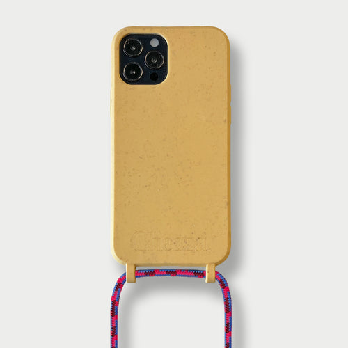 Sustainable Crossbody Phonecase ( iPhone 12 Series ) - Lemon/Pink