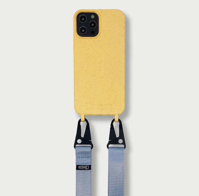 Sustainable Crossbody Phonecase + Flat Strap - Lemon/Blue