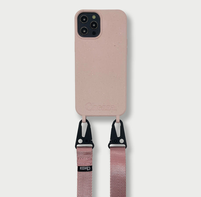 Sustainable Crossbody Phonecase + Flat Strap - Rose/Pink