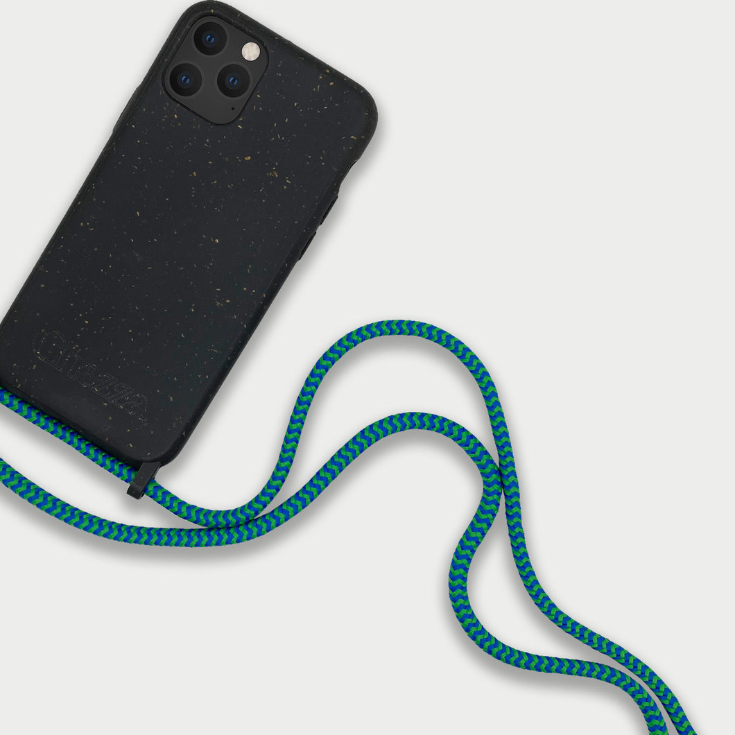 Sustainable Crossbody Phonecase (XS/XR/11 Pro/12 Series) - Granite Black & Blue/Green