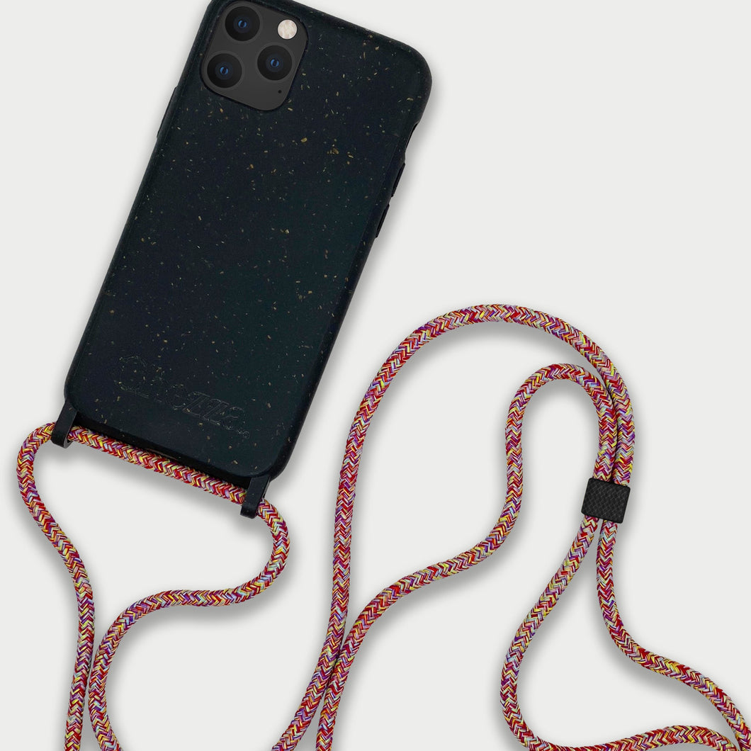 Sustainable Crossbody Phonecase (XS/XR/11 Pro/12 Series) - Granite Black & Mulitcolor
